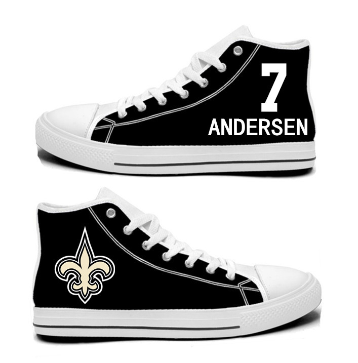 NFL New Orleans Saints 7#  Morten Andersen Black white Hand Painted Unisex Custom Centre-TOP Canvas Shoes