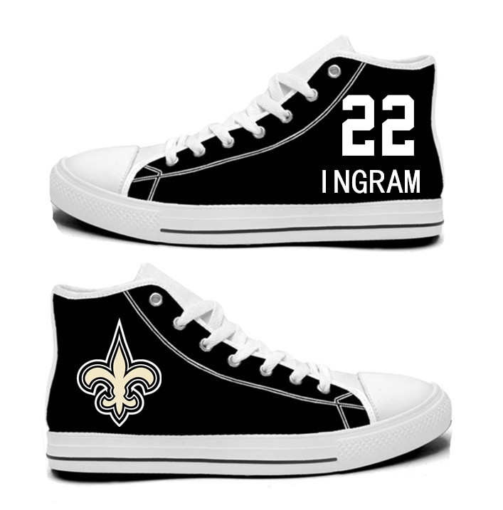 NFL New Orleans Saints 22# Mark Ingram Black white Hand Painted Unisex Custom Centre-TOP Canvas Shoes