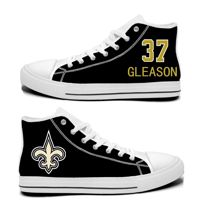 NFL New Orleans Saints 37#  Steve Gleason  Black Hand Painted Unisex Custom Centre-TOP Canvas Shoes