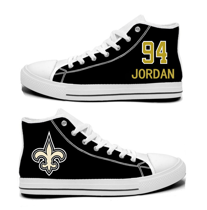 NFL New Orleans Saints 94#  Cameron Jordan Black Hand Painted Unisex Custom Centre-TOP Canvas Shoes