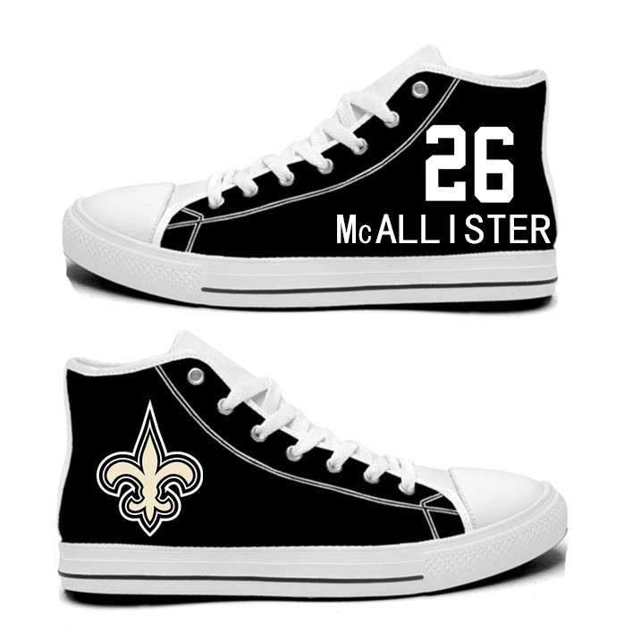 NFL New Orleans Saints 26#  Deuce McAllister Black white Hand Painted Unisex Custom Centre-TOP Canvas Shoes