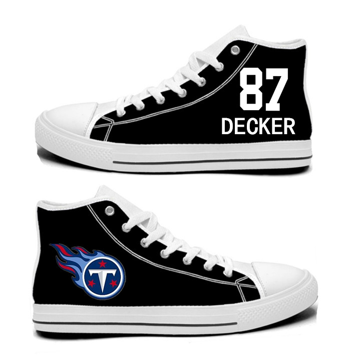 NFL Tennessee Titans 87# Eric Decker black Hand Painted Unisex Custom Centre-TOP Canvas Shoes