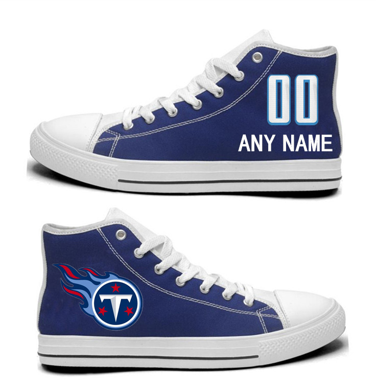 NFL Tennessee Titans Navy Custom Hand Painted Unisex Custom Centre-TOP Canvas Shoes