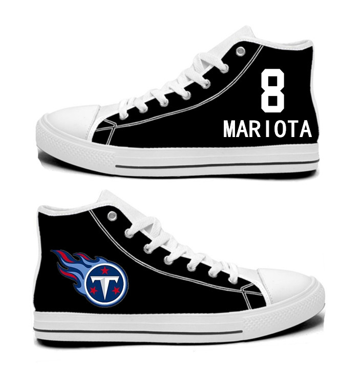 NFL Tennessee Titans 8# Marcus Mariota black Hand Painted Unisex Custom Centre-TOP Canvas Shoes