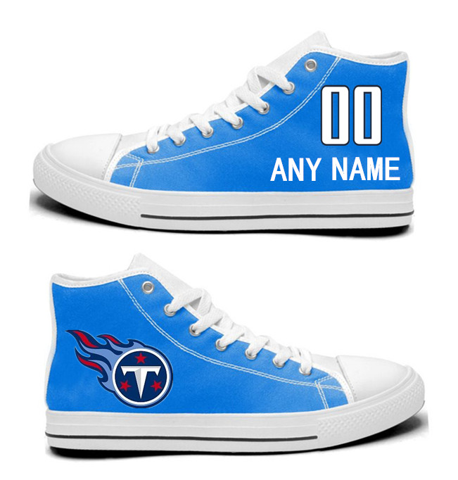 NFL Tennessee Titans blue Custom Hand Painted Unisex Custom Centre-TOP Canvas Shoes