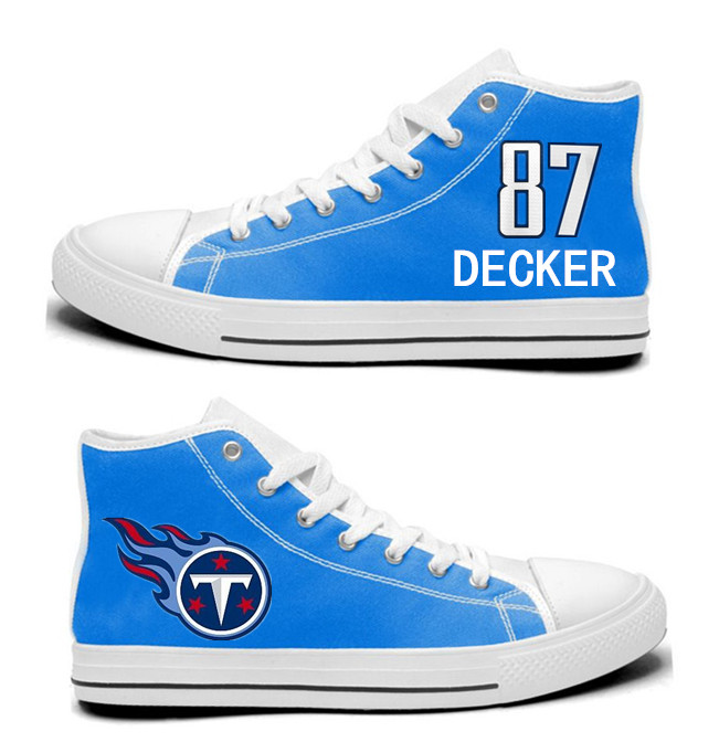 NFL Tennessee Titans 87# Eric Decker blue Hand Painted Unisex Custom Centre-TOP Canvas Shoes