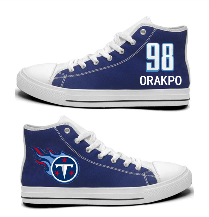 NFL Tennessee Titans 98#   Brian Orakpo   Navy Hand Painted Unisex Custom Centre-TOP Canvas Shoes
