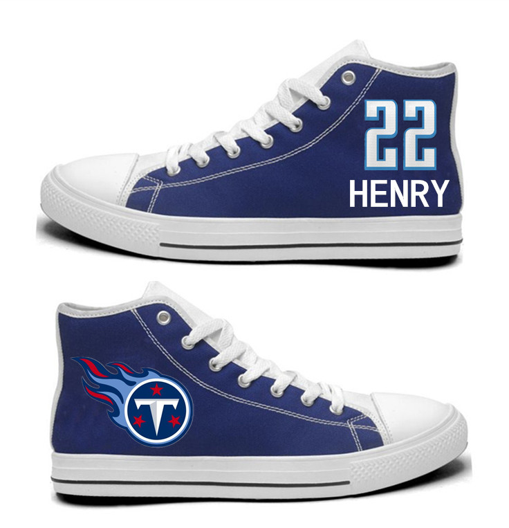 NFL Tennessee Titans 22#   Derrick Henry  Navy Hand Painted Unisex Custom Centre-TOP Canvas Shoes