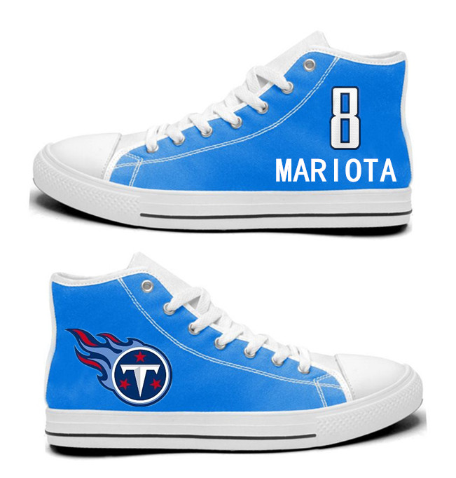 NFL Tennessee Titans 8# Marcus Mariota blue Hand Painted Unisex Custom Centre-TOP Canvas Shoes