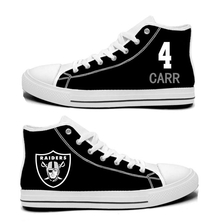 NFL Oakland Raiders 4# Derek Carr Black   Hand Painted Unisex Custom Centre-TOP Canvas Shoes