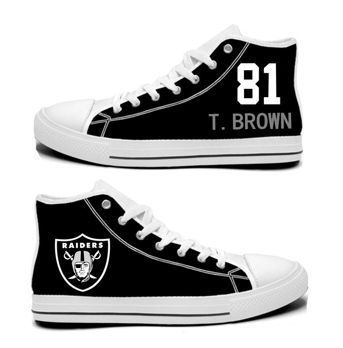 NFL Oakland Raiders 81# Tim Brown Mitchell  Black  Hand Painted Unisex Custom Centre-TOP Canvas Shoes