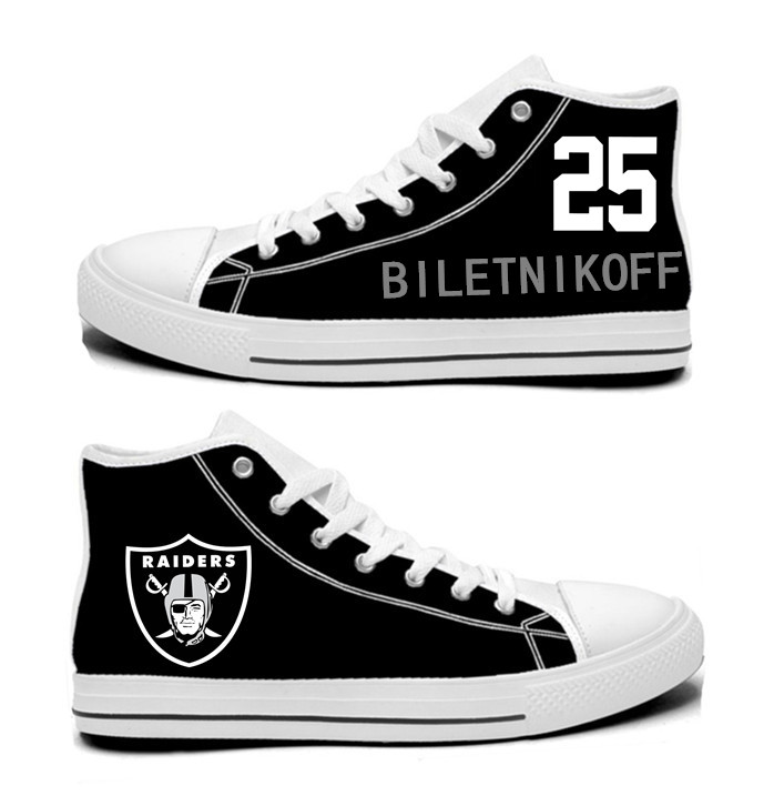 NFL Oakland Raiders 25# Fred Biletnikoff Black  Hand Painted Unisex Custom Centre-TOP Canvas Shoes