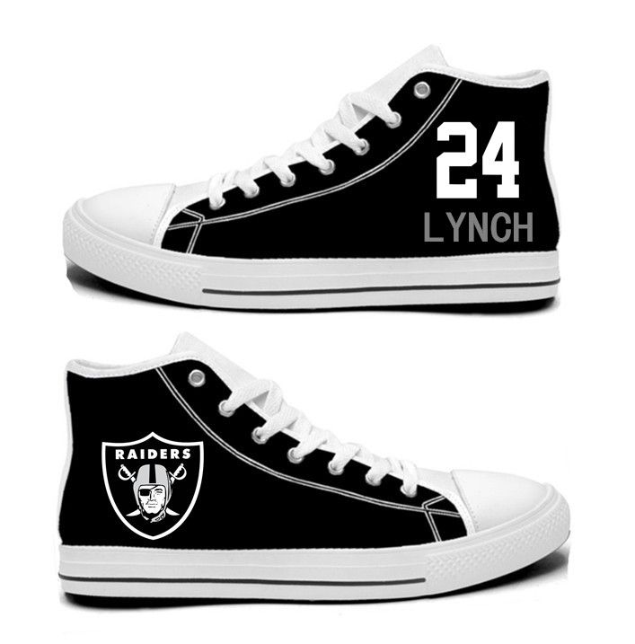 NFL Oakland Raiders 24# Marshawn Lynch Black  Hand Painted Unisex Custom Centre-TOP Canvas Shoes