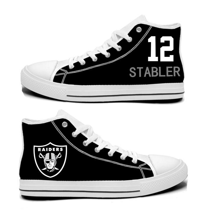 NFL Oakland Raiders 12#   Ken Stabler  Black  Hand Painted Unisex Custom Centre-TOP Canvas Shoes