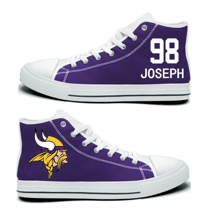 NFL Minnesota Vikings 98# Linval Joseph  Purple Hand Painted Unisex Custom Centre-TOP Canvas Shoes
