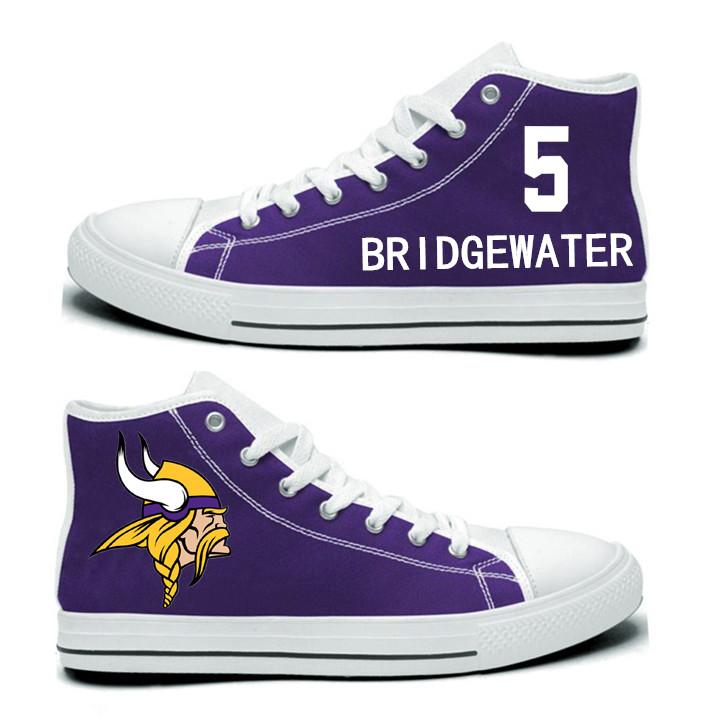 NFL Minnesota Vikings 5#  Teddy Bridgewater Purple Hand Painted Unisex Custom Centre-TOP Canvas Shoes