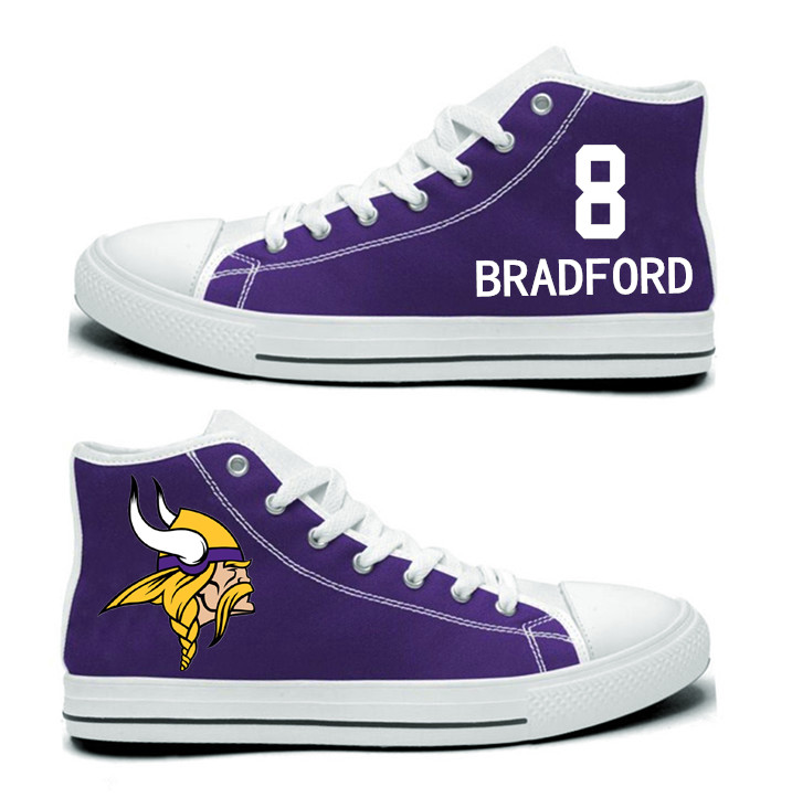 NFL Minnesota Vikings 8#  Sam Bradford  Purple Hand Painted Unisex Custom Centre-TOP Canvas Shoes