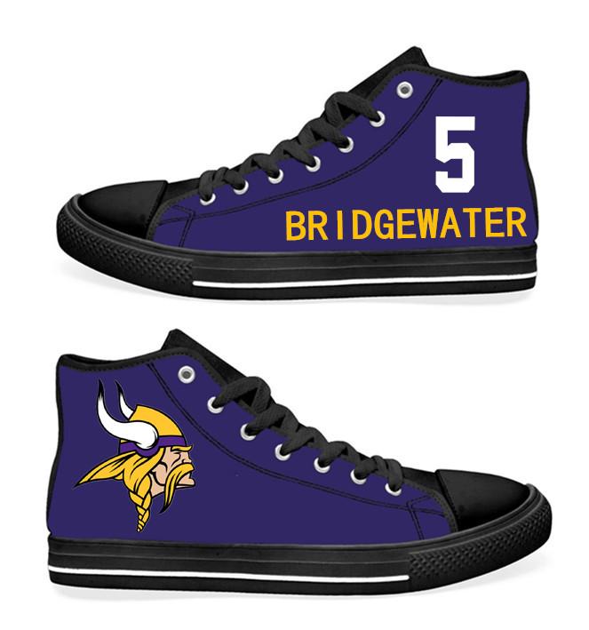 NFL Minnesota Vikings 5#  Teddy Bridgewater black Purple Hand Painted Unisex Custom Centre-TOP Canvas Shoes