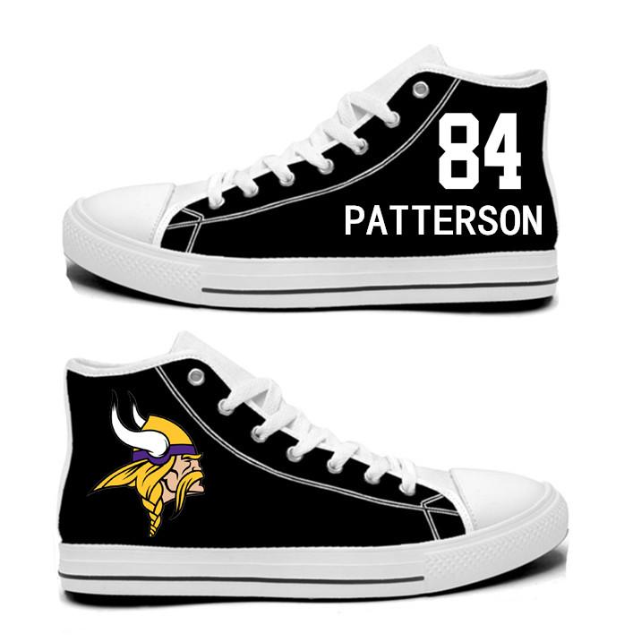 NFL Minnesota Vikings 84# Cordarrelle Patterson black Hand Painted Unisex Custom Centre-TOP Canvas Shoes