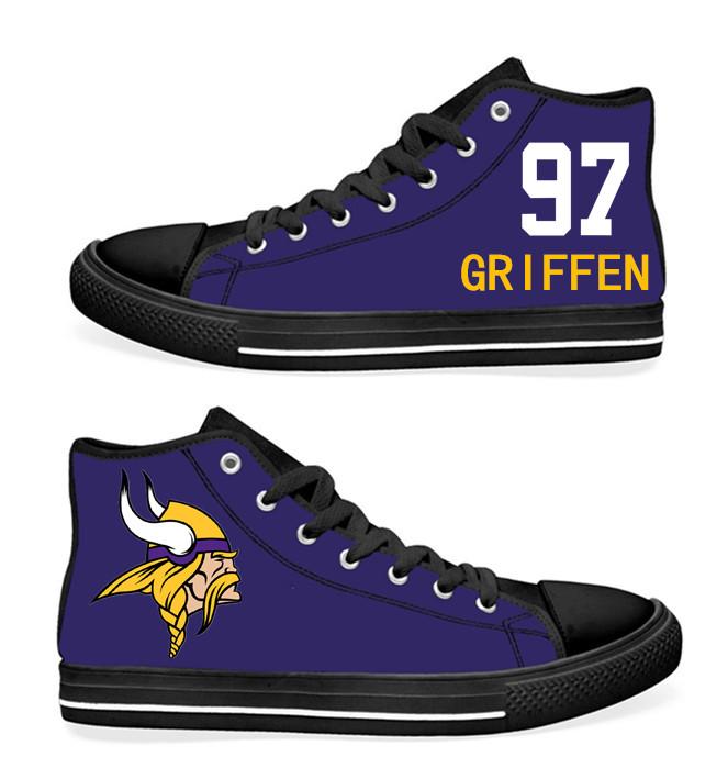 NFL Minnesota Vikings 97#  Everson Griffen black Purple Hand Painted Unisex Custom Centre-TOP Canvas Shoes