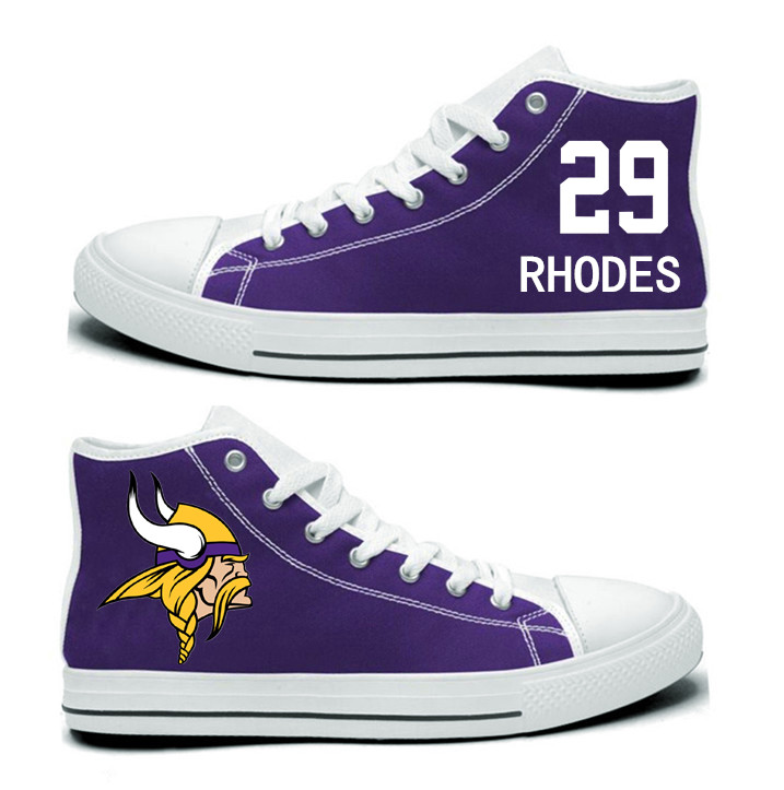 NFL Minnesota Vikings 29# Xavier Rhodes Purple Hand Painted Unisex Custom Centre-TOP Canvas Shoes