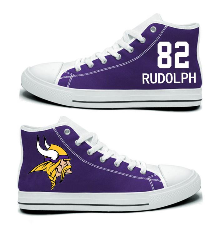 NFL Minnesota Vikings 82# Kyle Rudolph  Purple Hand Painted Unisex Custom Centre-TOP Canvas Shoes