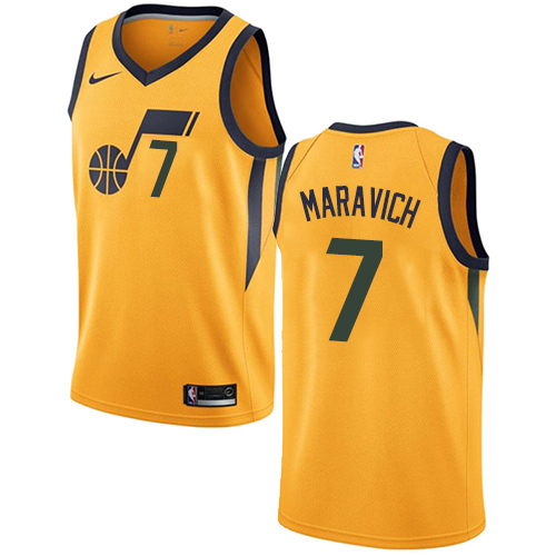 Men's Utah Jazz #7 Pete Maravich Swingman Yellow Association Edition Nike Jersey