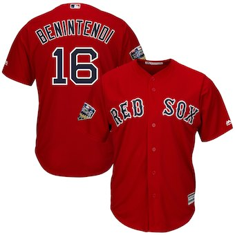 Boston Red Sox #16 Andrew Benintendi Majestic Scarlet 2018 World Series Cool Base Player Jersey1