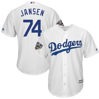 Los Angeles Dodgers #74 Kenley Jansen Majestic White 2018 World Series Cool Base Player Jersey