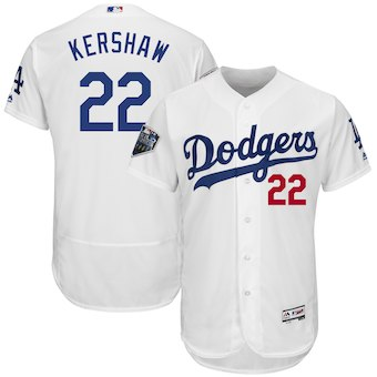 Los Angeles Dodgers #22 Clayton Kershaw Majestic White 2018 World Series Flex Base Player Jersey