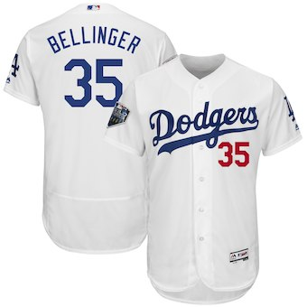 Los Angeles Dodgers #35 Cody Bellinger Majestic White 2018 World Series Flex Base Player Jersey