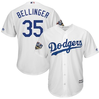 Los Angeles Dodgers #35 Cody Bellinger Majestic White 2018 World Series Cool Base Player Jersey