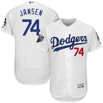Los Angeles Dodgers #74 Kenley Jansen Majestic White 2018 World Series Flex Base Player Jersey