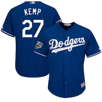 Los Angeles Dodgers #27 Kenley Jansen Majestic Royal 2018 World Series Cool Base Player Jersey