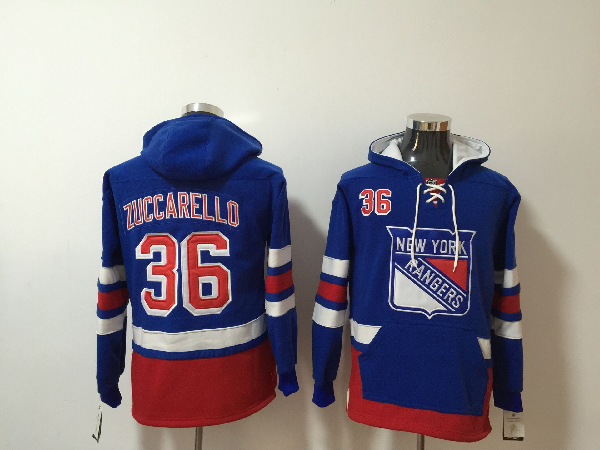 Rangers #36 Mats Zuccarello Royal All Stitched Hooded Sweatshirt