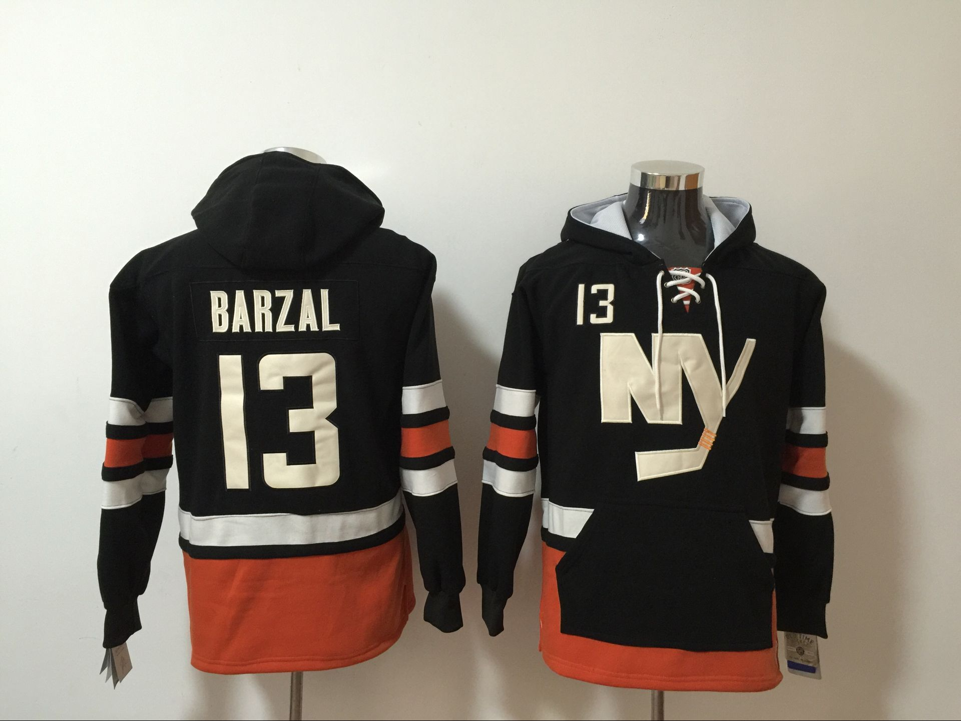 Rangers #13 Mathew Barzal Black All Stitched Hooded Sweatshirt