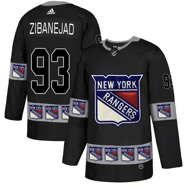 Rangers 93 Mika Zibanejad Black Team Logos Fashion Adidas Jersey