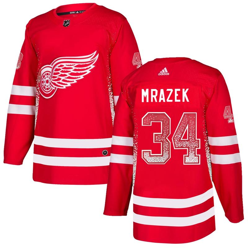 Red Wings 34 Petr Mrazek Red Drift Fashion Adidas Jersey