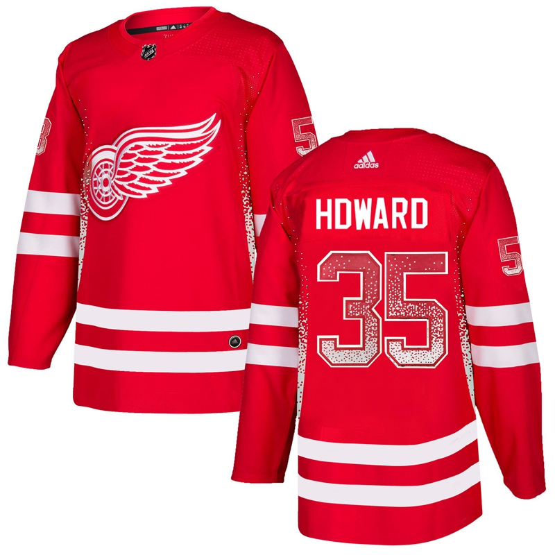 Red Wings 35 Jimmy Howard Red Drift Fashion Adidas Jersey