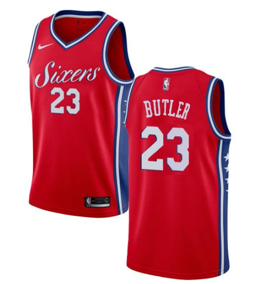 Men's Philadelphia 76ers #23 Jimmy Butler Red NEW Blue Jersey