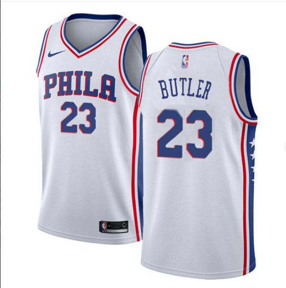 Men's Philadelphia 76ers #23 Jimmy Butler White Jersey