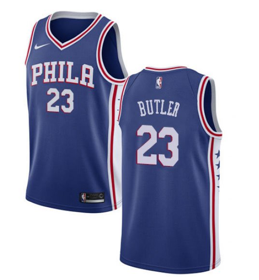Men's Philadelphia 76ers #23 Jimmy Butler Cream NEW Blue Jersey