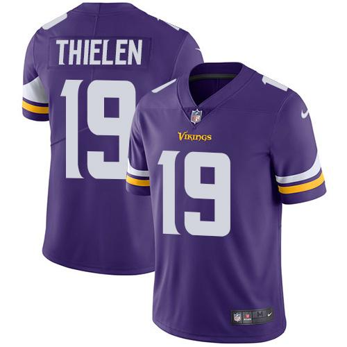 Youth Nike Minnesota Vikings #19 Adam Thielen Purple Team Color Stitched NFL Vapor Untouchable Limited Jersey