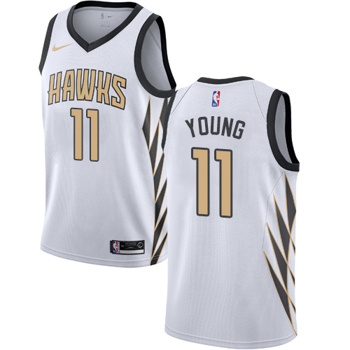 Men's Nike Atlanta Hawks #11 Trae Young White NBA City Edition Jersey