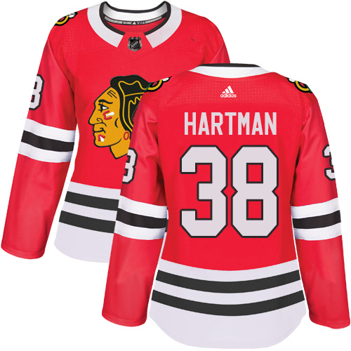 Women's Chicago Blackhawks #38 Ryan Hartman Red Home Authentic Women's Stitched NHL Jersey Stitched NHL Jersey