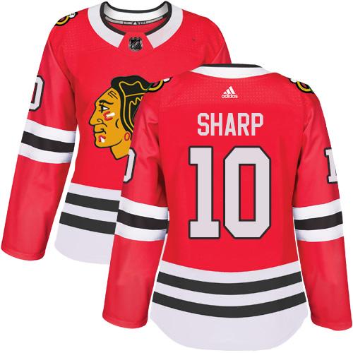 Women's Chicago Blackhawks #10 Patrick Sharp Red Home Authentic Chicago Blackhawks #14 Richard Panik Red Home Authentic Women's Stitched NHL Jersey Stitched NHL Jersey