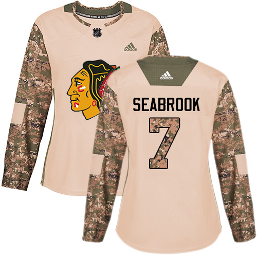 Women's Chicago Blackhawks #7 Brent Seabrook Camo Authentic 2017 Veterans Day Stitched NHL Jersey