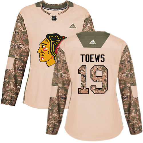 Women's Chicago Blackhawks #19 Jonathan Toews Camo Authentic 2017 Veterans Day Stitched NHL Jersey