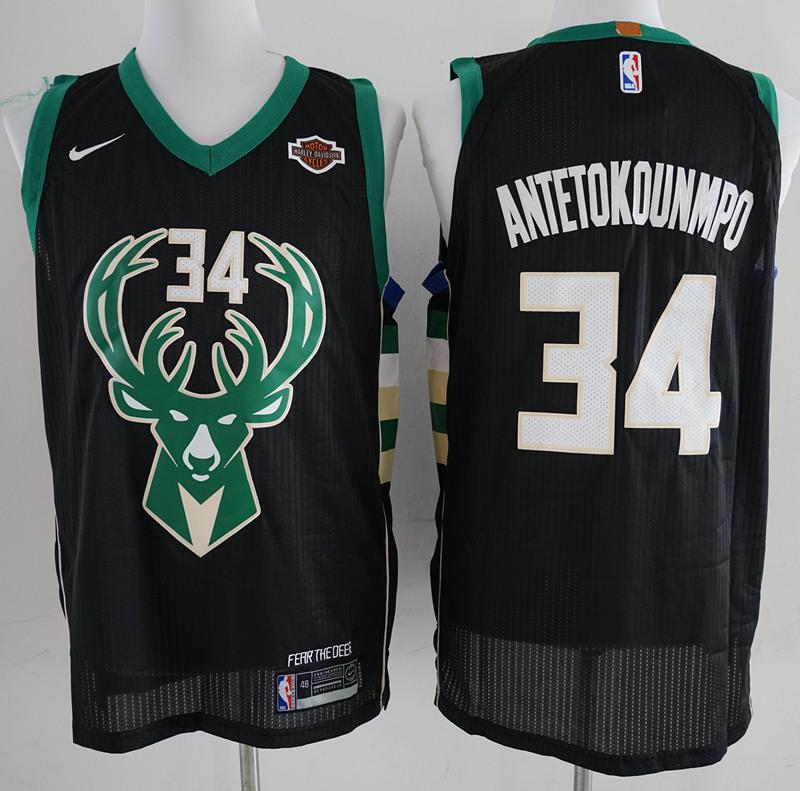 Bucks #34 Giannis Antetokounmpo Black Nike Authentic Jersey