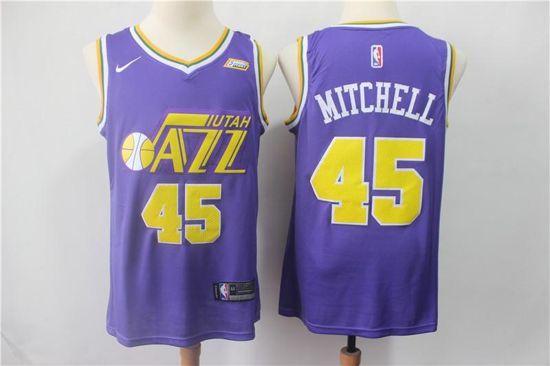 Jazz #45 Donovan Mitchell Purple Nike Swingman Jersey